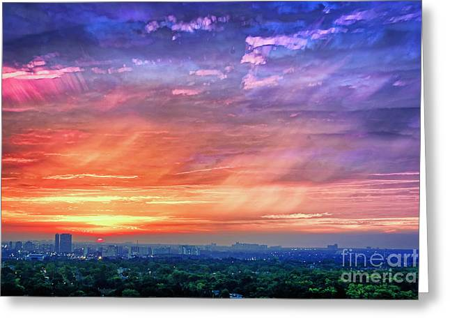 Time Stack Greeting Cards - Sunrise Clouds Greeting Card by Charline Xia