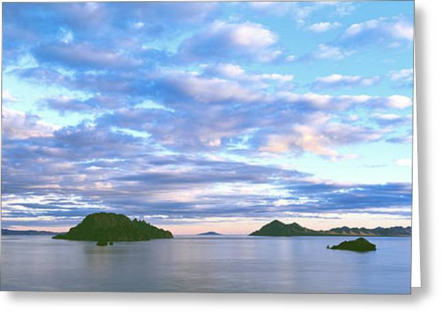 Sunrise Clouds Reflect In The Still Greeting Card by Panoramic Images
