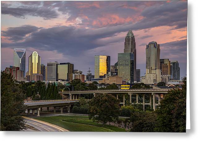 Charlotte Uptown Greeting Cards - Sunrise Commute Greeting Card by Chris Austin