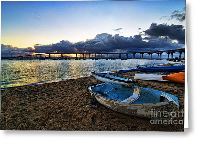 Boat Pyrography Greeting Cards - Sunrise - Coronado Bridge Greeting Card by Peter Dang
