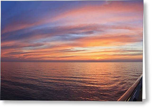 Boat Cruise Greeting Cards - Sunrise Cruise Greeting Card by Dennis Hedberg