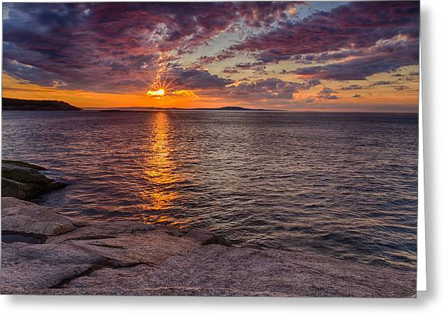 Reflection Of Sun In Clouds Greeting Cards - Sunrise Drama Acadia National Park Greeting Card by Jeff Sinon
