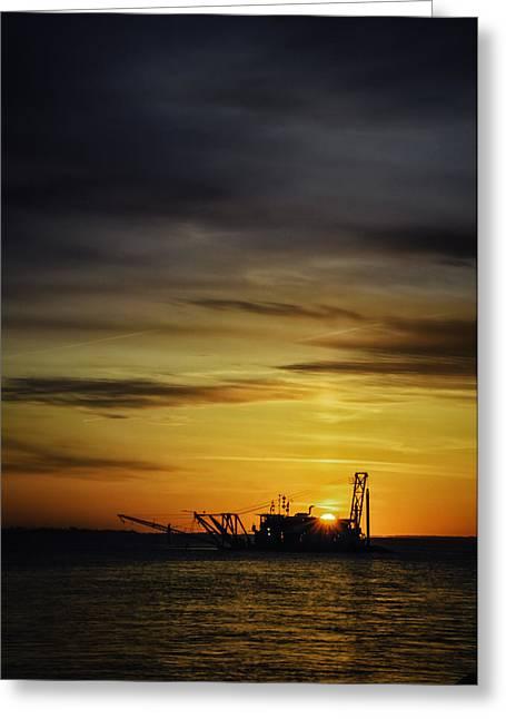 Babylon Greeting Cards - Sunrise Dredging Greeting Card by Vicki Jauron