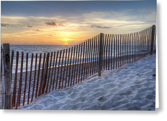 Sunrise Dunes Greeting Card by Debra and Dave Vanderlaan