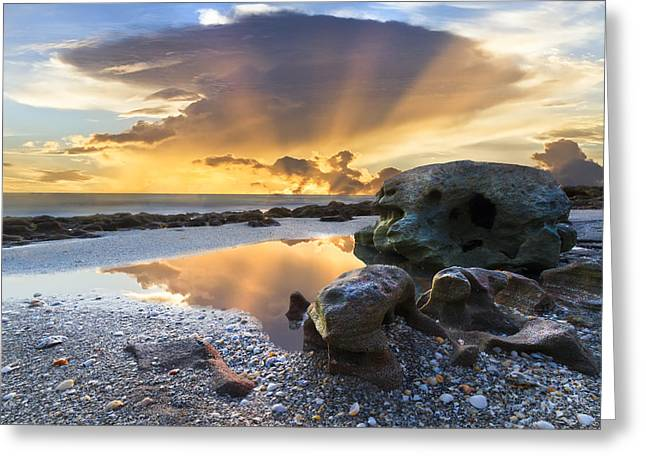 Hobe Sound Greeting Cards - Sunrise Explosion Greeting Card by Debra and Dave Vanderlaan