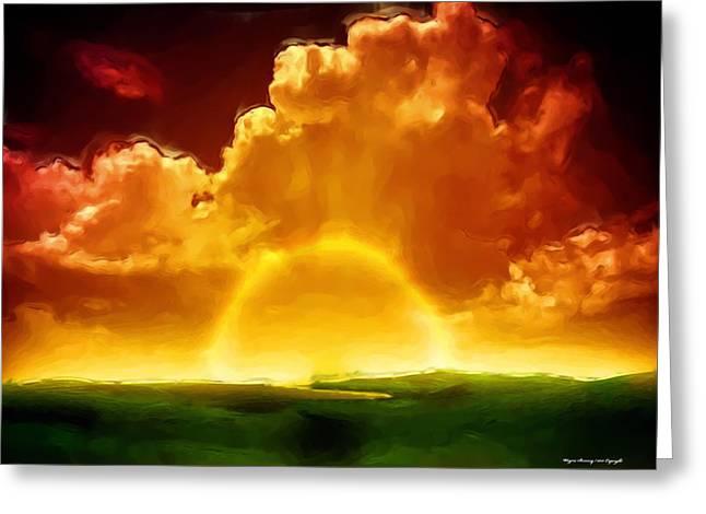 Alberta Foothills Landscape Greeting Cards - Sunrise Explosion Greeting Card by Wayne Bonney