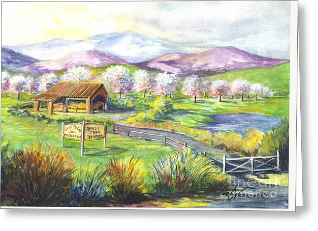 Farm Stand Drawings Greeting Cards - Sunrise Farm Stand Greeting Card by Carol Wisniewski