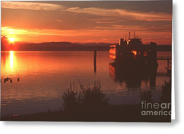 Puget Sound Framed Prints Greeting Cards - Sunrise Ferry Greeting Card by Jeanette French