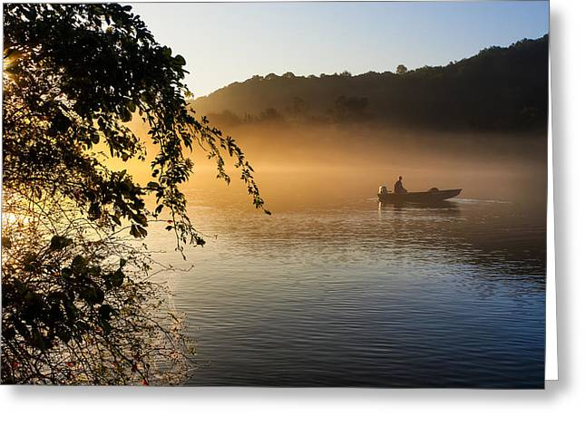 Fishing Trip Greeting Cards - Sunrise Fishing On The Chattahoochee Greeting Card by Mark Tisdale