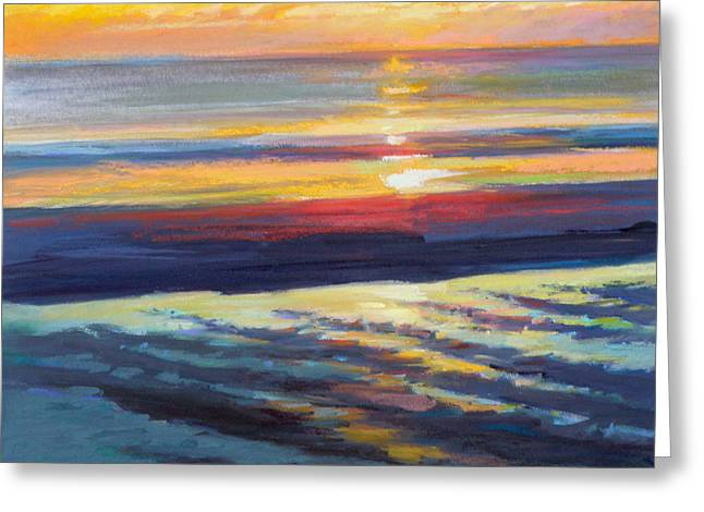 Cape Cod Pastels Greeting Cards - Sunrise Flats Greeting Card by Ed Chesnovitch