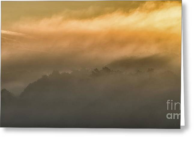Colorful Cloud Formations Greeting Cards - Sunrise Fog Appalachian Mountains Greeting Card by Thomas R Fletcher