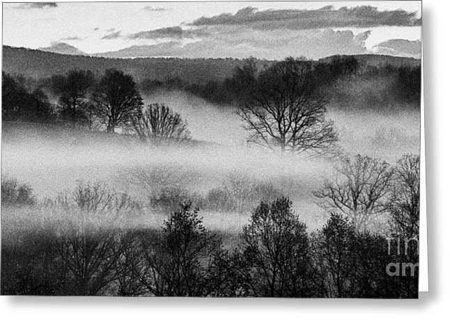 Colorful Cloud Formations Greeting Cards - Sunrise Fog Black and White Greeting Card by Thomas R Fletcher