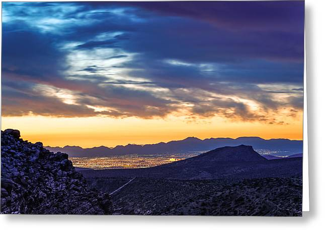 Las Vegas Art Greeting Cards - Sunrise from Calico Hills - Red Rock Canyon - Las Vegas Nevada Greeting Card by Silvio Ligutti