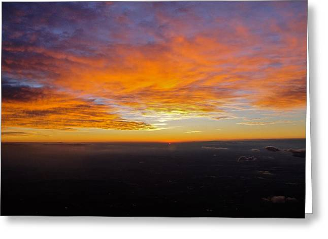Sunrise From The Airplane Greeting Card by Jennifer Lamanca Kaufman