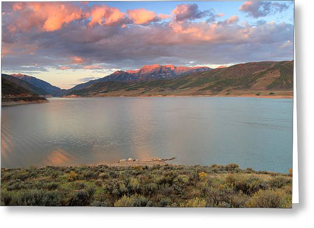 Deer Creek Greeting Cards - Sunrise from the island at Deer Creek. Greeting Card by Johnny Adolphson