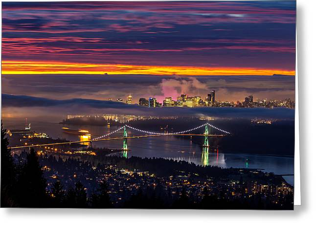 Burrard Inlet Greeting Cards - Sunrise from West Vancouver Greeting Card by Pierre Leclerc Photography