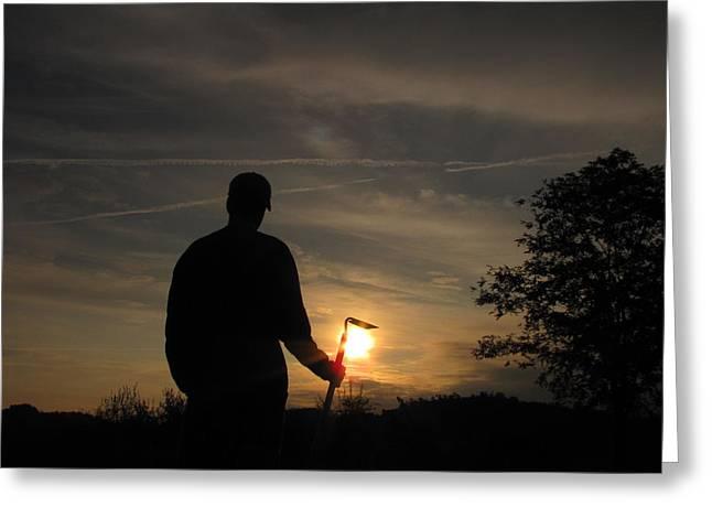 Shane Brumfield Greeting Cards - Sunrise Gardener Greeting Card by Shane Brumfield
