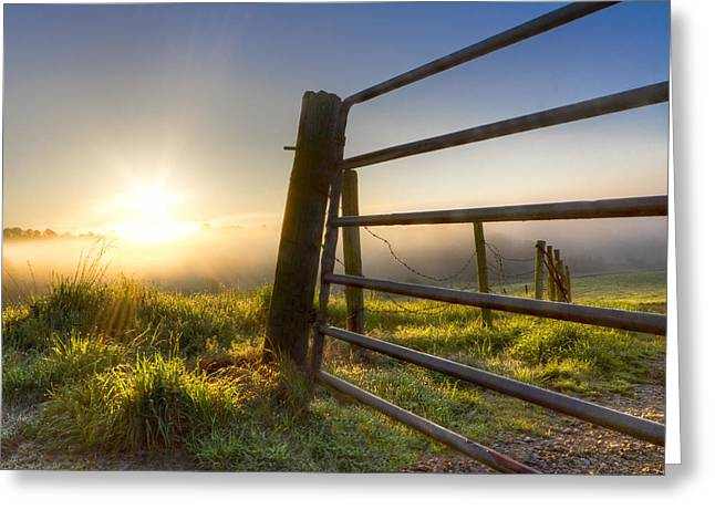 Tennessee Barn Greeting Cards - Sunrise  Gate Greeting Card by Debra and Dave Vanderlaan