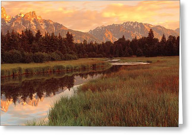 Spectacular Greeting Cards - Sunrise Grand Teton National Park Greeting Card by Panoramic Images