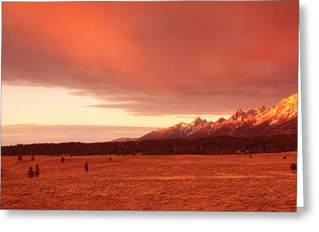 Storm Clouds Greeting Cards - Sunrise Grand Teton National Park Wy Usa Greeting Card by Panoramic Images