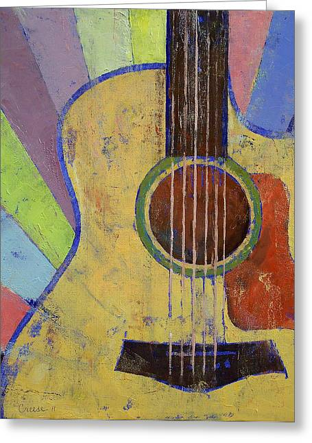 Graphics Paintings Greeting Cards - Sunrise Guitar Greeting Card by Michael Creese