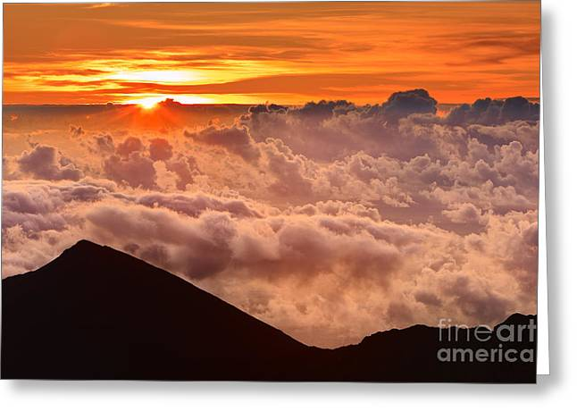 Acryl Greeting Cards - Sunrise Haleakala National Park - Maui Greeting Card by Henk Meijer Photography