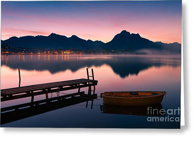 Acryl Greeting Cards - Sunrise Hopfensee - Allgau - Bavaria - Germany Greeting Card by Henk Meijer Photography