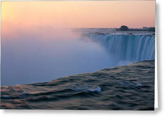 Horseshoe Falls Greeting Cards - Sunrise Horseshoe Falls Niagara Falls Greeting Card by Panoramic Images