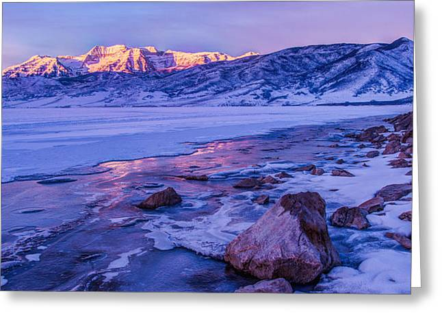 Sunrise Ice Reflection Greeting Card by Chad Dutson