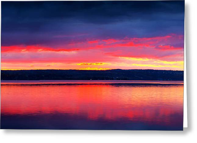 Sunrise In Cayuga Lake Ithaca New York Panoramic Photography Greeting Card by Paul Ge
