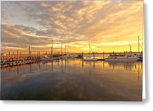 Ravenal Bridge Greeting Cards - Sunrise in Charleston Greeting Card by Jenny Hudson