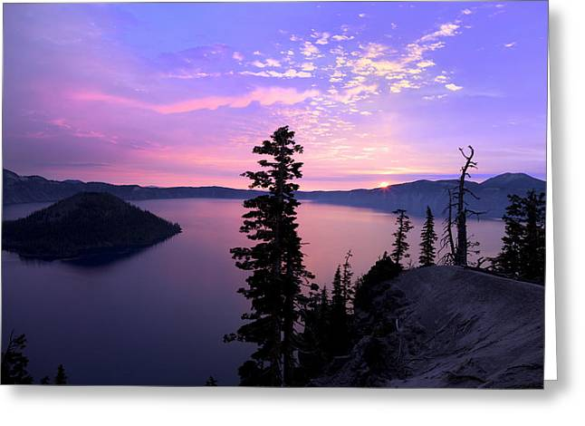 Sunrise In Crater Lake Greeting Card by King Wu