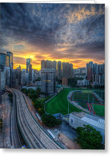 Mike Lee Greeting Cards - Sunrise in Hong Kong Greeting Card by Mike Lee