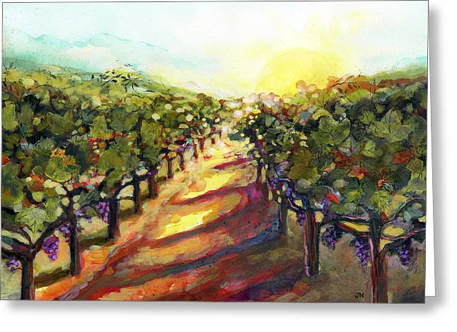 Wine Lovers Greeting Cards - Sunrise in Napa Greeting Card by Jen Norton
