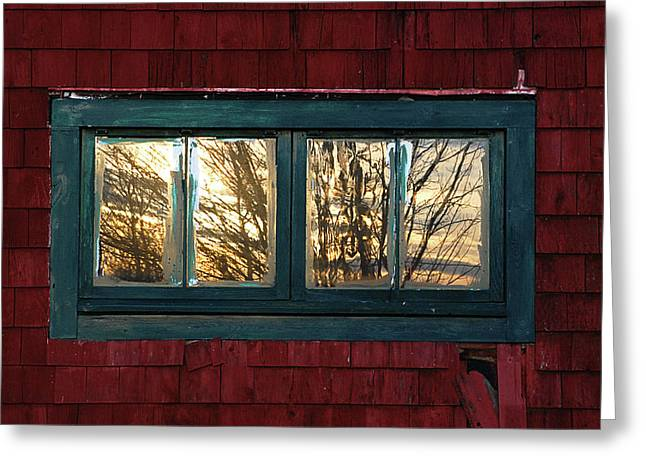 Old Maine Barns Greeting Cards - Sunrise in Old Barn Window Greeting Card by Susan Capuano
