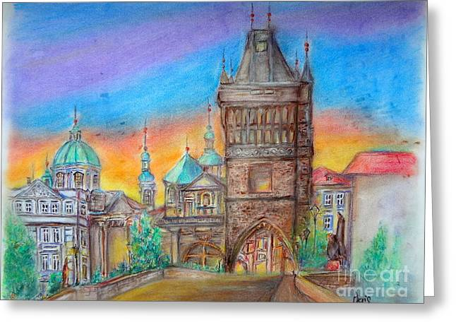Historic Architecture Pastels Greeting Cards - Sunrise in Pagrue Greeting Card by Aeris Osborne