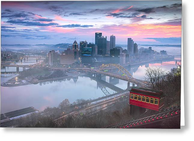 Snow Abstract Greeting Cards - Sunrise in Pittsburgh Pa  Greeting Card by Emmanuel Panagiotakis