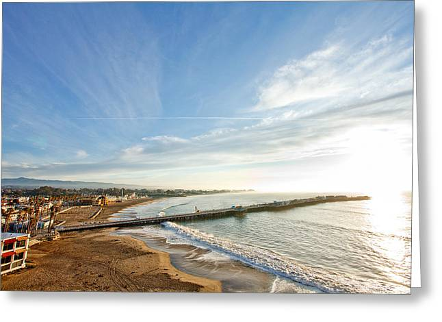 Santa Cruz Pier Greeting Cards - Sunrise in Santa Cruz Greeting Card by Jake Holt