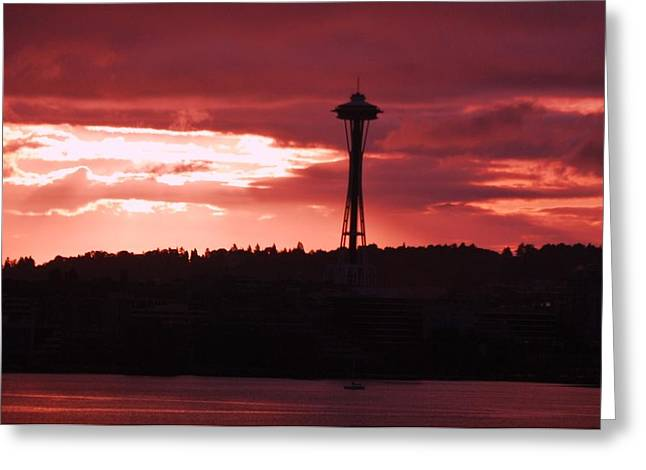 Seattle Skyline Greeting Cards Greeting Cards - Sunrise In Seattle 1 Greeting Card by Marcus Dagan