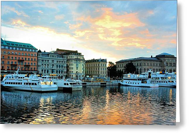 Boats In Reflecting Water Greeting Cards - Sunrise in Stockholm Greeting Card by Jenny Hudson