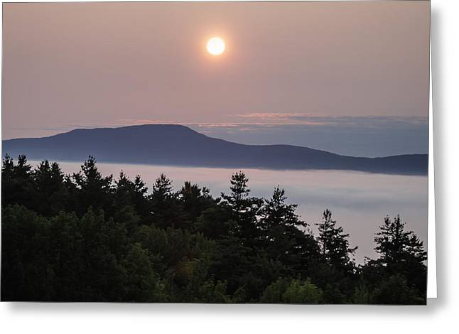 Outlook Pyrography Greeting Cards - Sunrise in Stowe Vermont Greeting Card by George Blaney