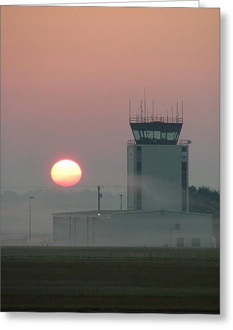 Best Sellers -  - Traffic Control Greeting Cards - Sunrise in the Fog at East Texas Regional Airport Greeting Card by Phil Rispin