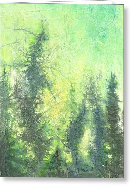 Pine Needles Mixed Media Greeting Cards - Sunrise in the Forest Greeting Card by Jeanne Hyland-Curtin