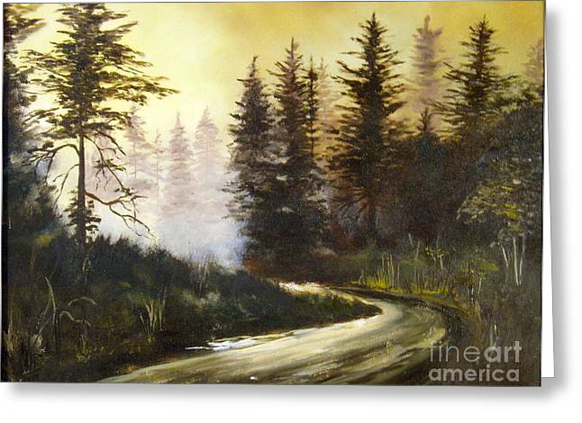 Woodland Scenes Greeting Cards - Sunrise in the Forest Greeting Card by Lee Piper
