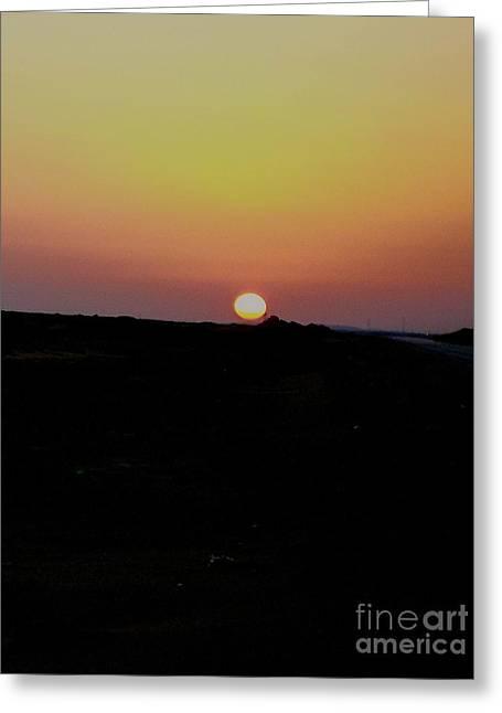 Calm Pyrography Greeting Cards - Sunrise in the Sahara Greeting Card by Lynn R Morris