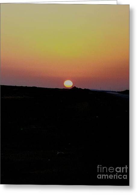 Red Photographs Pyrography Greeting Cards - Sunrise in the Sahara Greeting Card by Lynn R Morris