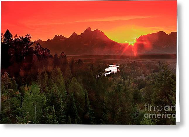 Outlook Greeting Cards - Sunrise in the Tetons Greeting Card by Robert Bales