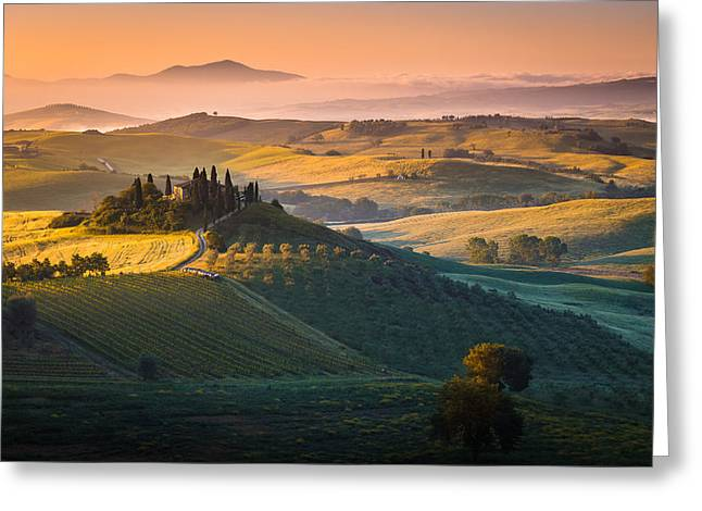 Italian Landscapes Greeting Cards - Sunrise in Tuscany Greeting Card by Stefano Termanini
