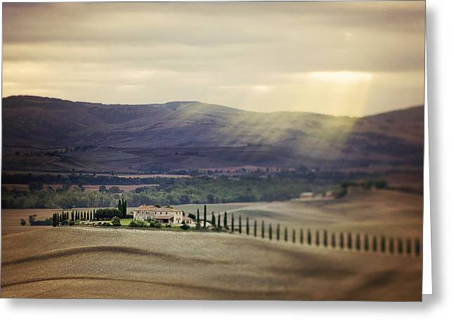 Mountain Road Greeting Cards - Sunrise in Tuscany Greeting Card by Vaida Abdul