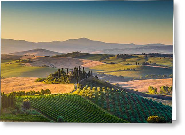 Italian Sunset Greeting Cards - A Golden Morning in Tuscany Greeting Card by JR Photography
